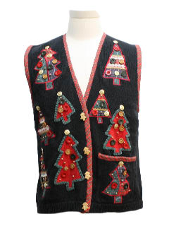 1980's Womens Country Kitsch Buttons-O-Plenty Ugly Christmas Sweater Vest