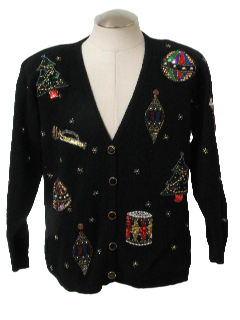 1980's Womens Beaded Ugly Christmas Cardigan Cocktail Sweater