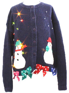 1980's Womens/Girls Lightup Ugly Christmas Sweater Dress