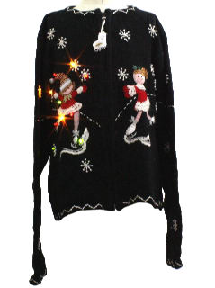 1980's Womens/Girls Lightup Ugly Christmas Sweater