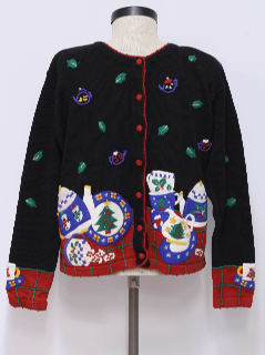 1990's Womens Design er Tea Time Ugly Christmas Sweater