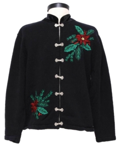1980's Womens Cheongsam Inspired Asian Style Ugly Christmas Sweater