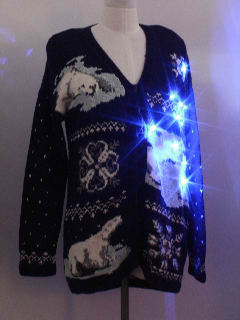 1980's Unisex Lightup Bear-riffic Ugly Christmas Sweater