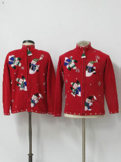 1980's Womens or Girls Matching Pair of Two Ugly Christmas Sweaters