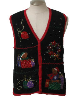1980's Unisex Bear-riffic Ugly Christmas Sweater Vest