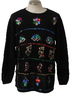 1980's Unisex Shiny Sequined Ugly Christmas Sweater