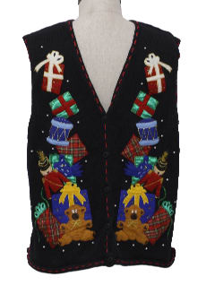 1980's Unisex Bear-ific Ugly Christmas Sweater Vest