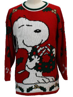 1980's Unisex Vintage Snoopy Ugly Christmas Sweater