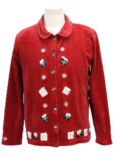 1980's Womens Velour Ugly Christmas Sweater