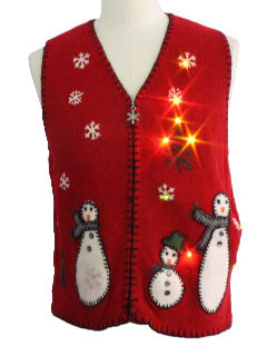 1980's Womens Light up Ugly Christmas Sweater Vest