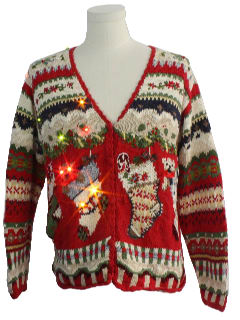 1980's Unisex Light up Ugly Christmas Cardigan Sweater