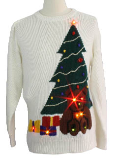 1980's Unisex Bear-riffic Light up Ugly Christmas Sweater