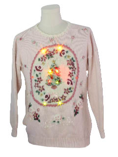 1980's Unisex Kitschy Light up Ugly Christmas Sweater