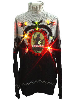 1980's Mens Ugly Lightup Krampus Christmas Sweater