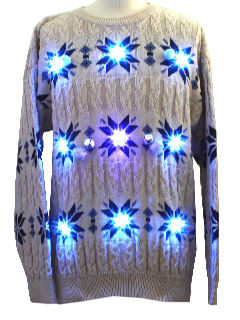 1980's Mens Super Jew Lightup Cable Knit Ugly Christmas Style Lightup Hanukkah Sweater