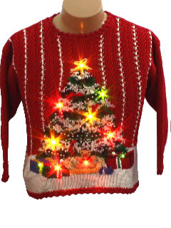 1980's Womens/Childs Ugly Lightup Christmas Sweater