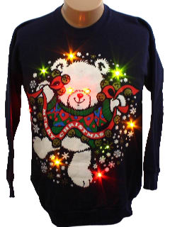 1980's Unisex Bear-riffic Ugly Lightup Christmas Sweatshirt