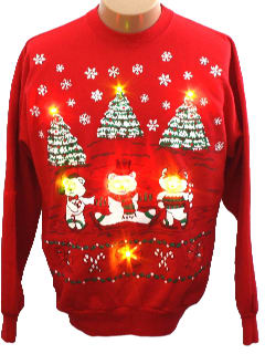 1980's Unisex Ugly Lightup Christmas Sweatshirt
