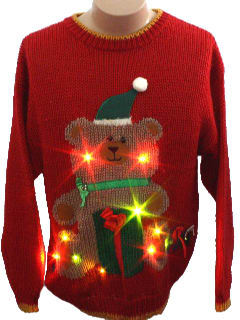 1980's Unisex Bear-riffic Ugly Lightup Christmas Sweater