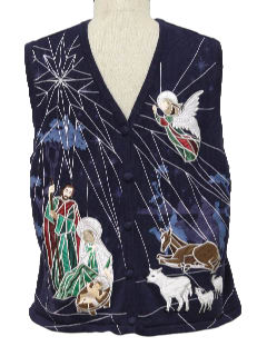 1980's Unisex Nativity Scene Ugly Christmas Sweater Vest