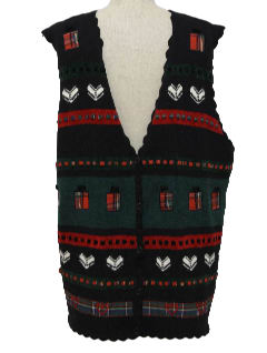 1980's Unisex Country Kitsch Style Ugly Christmas Sweater Vest