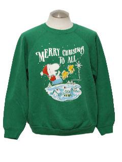 1980's Unisex Vintage Snoopy Ugly Christmas Sweatshirt