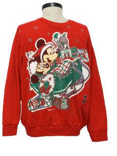 1980's Unisex Vintage Mickey Mouse Ugly Christmas Sweatshirt