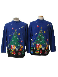 1980's Unisex Matching Pair of Two Ugly Christmas Sweaters