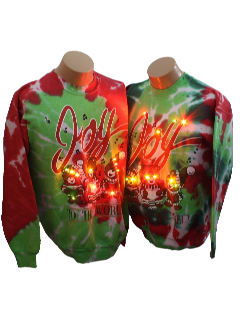 1980's Matching Pair of Unisex Ugly Lightup Tie-Dyed Christmas Sweatshirts
