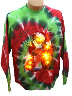 1980's Womens Made for Cathy Ugly Lightup Tie-Dyed Christmas Sweatshirt