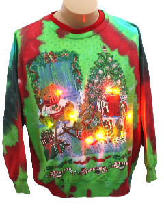 1980's Unisex Bear-riffic Ugly Lightup Tie-Dyed Christmas Sweatshirt