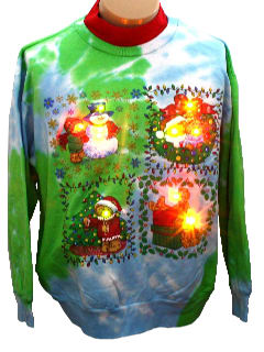 1980's Unisex Ugly Lightup Tie-Dyed Christmas Sweatshirt