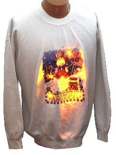 1980's Unisex Patriotic Ugly Lightup Christmas Sweatshirt
