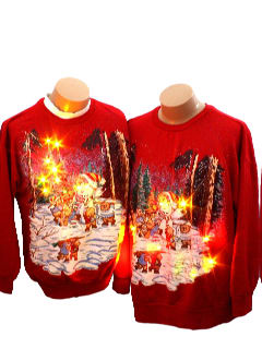 1980's Unisex Matching Pair of Two Ugly Lightup Christmas Sweatshirts