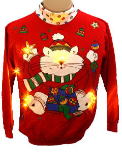 1980's Womens Cat-Tastic Ugly Lightup Christmas Sweatshirt