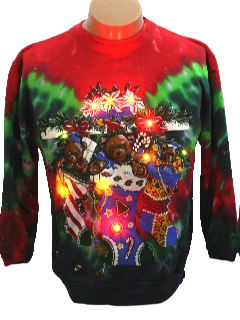 1980's Womens Bear-riffic  Tie-Dyed Lightup Ugly Christmas Sweatshirt