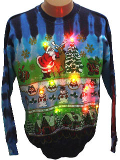 1980's Unisex Tie-Dyed Lightup Ugly Christmas Sweatshirt