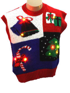 1980's Womens Totally 80s Lightup Pullover Ugly Christmas Sweater Vest