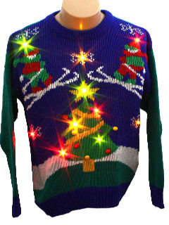 1980's Unisex Totally 80s Light up Ugly Christmas Sweater