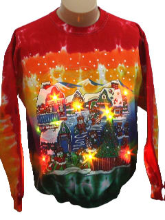 1980's Unisex Light up Hand Tie-Dyed Ugly Christmas Sweatshirt