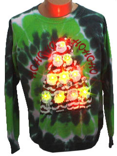 1980's Unisex Light up Tie-Dyed Ugly Christmas Sweatshirt