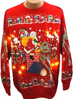 1980's Mens Light up Ugly Christmas Sweatshirt