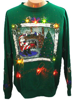 1980's Unisex Light up Ugly Christmas Sweatshirt