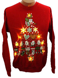 1990's Womens Cat-Tastic Light up Ugly Christmas Sweatshirt