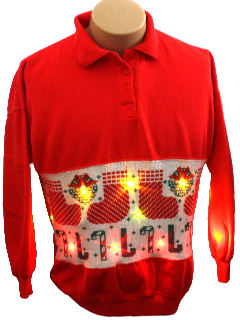 1980's Unisex Light up Ugly Christmas Sweater-look Sweatshirt
