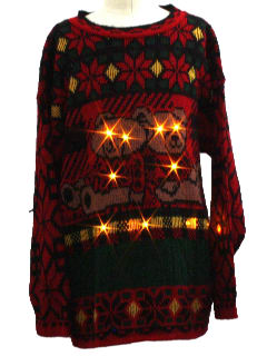 1980's Unisex/Childs Lightup Bear-riffic Ugly Christmas Sweater