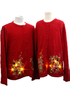 1980's Unisex/Childs Pair Lightup Ugly Christmas Sweater