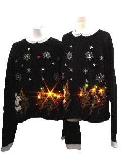 1980's Unisex/Childs Matching Pair of Lightup Ugly Christmas Sweaters