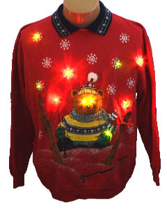 1980's Unisex Bear-riffic Lightup Ugly Christmas Sweatshirt