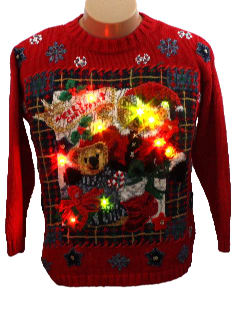 1990's Womens/Girls Bear-riffic Lightup Ugly Christmas Sweater